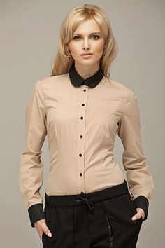 Hot looking-Beige Vintage Blouse With Black Round Collar And Cuffs Best Online Fashion Stores, Mens Designer Brands, Budget Fashion, Collar Blouse, Blouse Vintage, Collar And Cuff, Black Trim, Office Outfits, Blouses For Women