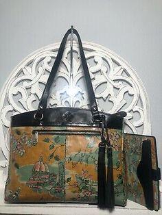 Brahmin Poppy Tote & Wallet SET Beautiful Girl Milan Italy Vintage Print | eBay Winter Haven, Patricia Nash, Milan Italy, Blue Jay, Vintage Prints, Poppy, Wallet, Leather, Bags