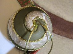 Spiralled fabric Christmas ball