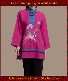 100% Handmade Pure Linen Blouse Shirt Top - Oriental Chinese Embroidery Art #121 http://www.chinesefashionstyle.com/jackets-blouses/