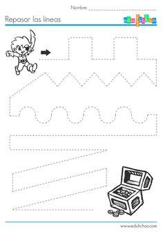 Grafomotricidad. Ejercicio de líneas para repasar. Preescolar