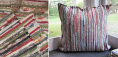 How to make a floor pillow using rag rug area rugs.