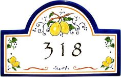 Lemons from Umbria Address Plaque/House Numbers by classyplaques, $179.00