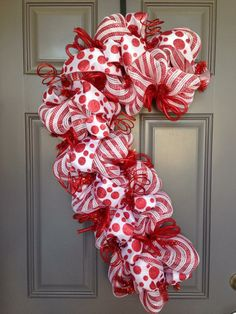 Candy Cane Wreath Christmas Wreath Peppermint by BeautifulMesh Deco Mesh Wreaths, Holiday Wreaths, Holiday Crafts, Christmas Decorations, Christmas Ornaments, Winter Wreaths, Yard Decorations, Candy Cane Wreath, Candy Canes