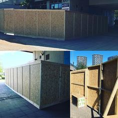 Wooden site hoarding constructed in East London underneath a motorway for Waterside Studios Business Centre. The hoarding was constructed from varnished OSB 3 and planed timber. Hoarding Design, Business Centre, East London, Outdoor Furniture, Outdoor Decor, Studios, Creativity, Construction