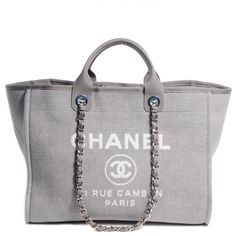 CHANEL Canvas Deauville Large Tote in Grey.
