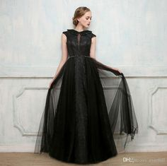 2018 Fashion Black Long Prom Dress Cap Sleeve With Beading Deep V-Neck Lace Tulle Evening Gowns Women A-Line Formal Dresses For Prom Party