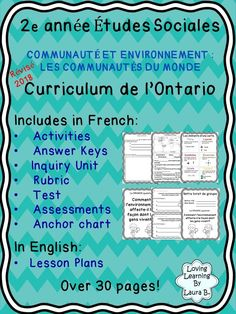 Social Studies / Etudes Sociales Grade 1 Ontario Curriculum – Full Unit A complete unit for French Immersion classrooms for the Heritage and Identity strand. Ontario Curriculum, Social Studies Curriculum, Social Studies Resources, Teaching Resources, French Lessons, Spanish Lessons, Teaching French Immersion, Spanish Language Learning, Teaching Spanish