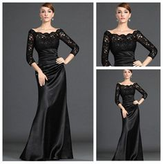 Black Lace and Satin Dresses Evening Long Sleeve Muslim Woman Lace Sleeves Evening Gowns 2012 $139.99