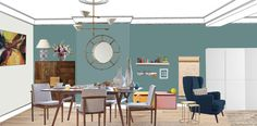 Visual of mid century open plan dining/ living, East London. East London, Open Plan, Mid Century, How To Plan, Dining, Room, Style, Bedroom, Swag