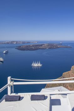 Views over the Santorini Caldera from a private terrace at the On the Rocks Hotel in Santorini