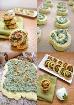 Spinach feta and herbs pinwheels