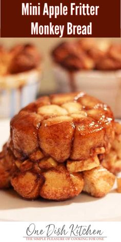 wonderful Mini Apple Fritter Monkey Bread is easily made with refrigerator biscuits, chopped apples, cinnamon, and brown sugar. Baked in a ramekin this sweet pull-apart bread makes the perfect apple filled dessert. Apple Dessert Recipes, Mug Recipes, Mini Desserts, Apple Recipes, Sweet Recipes, Recipies, Kitchen Recipes, Fall Recipes, Dinner Recipes