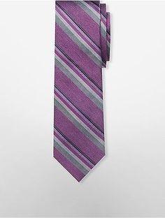 2cb91b7305413 Calvin Klein Mens Steel Platinum Striped Tie Shirt
