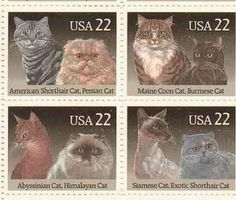 Cats Set of 4 x 22 Cent US Postage Stamps NEW Scot 2372-75 . $6.95. One set of four (4) Cats  4 x 22 Cent postage stamps Scot #2372-75