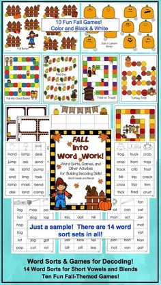 Phonics fun:  Word sorts and games for fall!  Use as a stand-alone or to supplement your adopted reading series.  Includes sorts for short vowels and blends (initial and final).  Use any of the word sorts with any of the games!  $