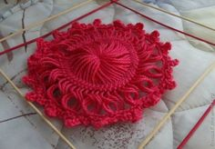 hairpin lace flower - picture tutorial