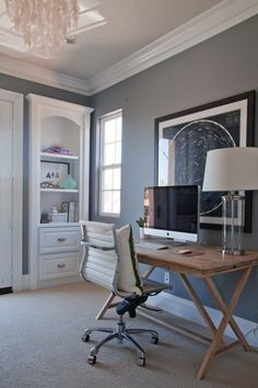 I'd like a more modern version of these built-ins for the study (minus the arch--sleeker look).