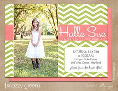 "LDS Baptism Photo Invitation (Digital or Printed)- ""snazzy green"""
