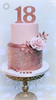 Bolo lindo feito pela talentosa ・・・ Rose gold and sparkly ? Bolo lindo feito pela talentosa ・・・ Rose gold and sparkly ? Birthday Cake 50, 18th Birthday Party, 18th Birthday Cake For Girls, Girl Birthday, Sparkly Cake, 18th Cake, Sweet 16 Cakes, Girl Cakes, Celebration Cakes