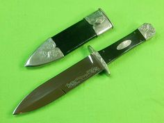 Custom Hand Made Harvey Otis McBurnette Fighting Hunting Knife Dagger & Scabbard