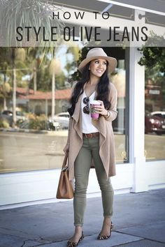 How to style olive jeans for fall - casual fall outfit, camel drapey cardigan, leopard flats, white cami, camel handbag, camel wool hat, petite fashion blog, stylish petite - click the photo for outfit details! #womenclothingforfall #camisoutfit #cardiganfall #casualfalloutfits