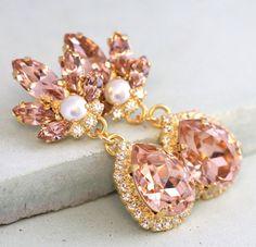 Blush Earrings Morganite Long Chandelier Bridal Earring Bridesmaid Drop Dangle Warovski Earrin