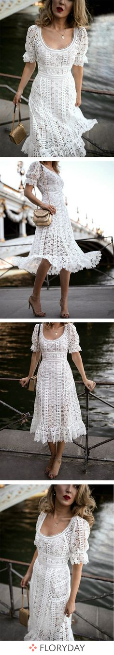 J'ai hâte de porter cette robe en dentelle blanche. Nice Dresses, Short Dresses, Summer Dresses, Sunday Dress, Silky Dress, Black White Fashion, Everyday Dresses, Best Wedding Dresses, White Casual