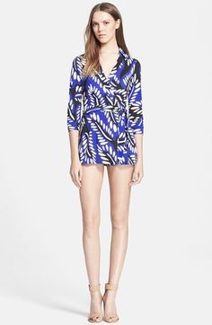 Diane von Furstenberg 'Celeste' Silk Jersey Romper. A crisp collar and fitted three-quarter sleeves style a playful wrap-look romper crafted from cheerfully printed silk jersey.