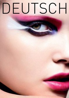 Beautiful makeup in purple, pink and white on the cover of Deutsch Magazine.