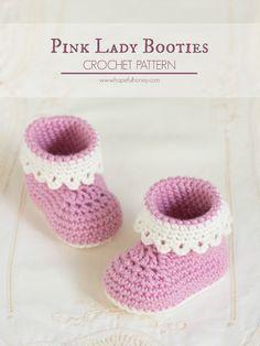 Pink Lady botines del bebé - libre del patrón de ganchillo