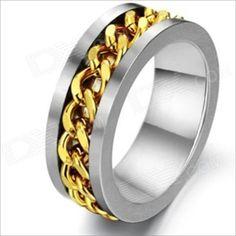 GJ317 Fashionable Steel Chain Rotation Men's Titanium Steel Ring - Golden + Silver (US Size 9)