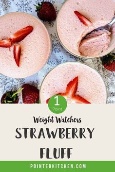These strawberry fluff desserts are different from the usual WW fluff in that they don't contain yogurt. Really tasty and easy to make they work out at 1 SmartPoint per portion on WW Green, WW Blue, WW Purple and Freestyle plans. #wwgreenplan #wwblueplan #wwpurpleplan #ww #weightwatchers #weightwatchersdessertrecipes #weightwatchersrecipeswithpoints #wwdesserts
