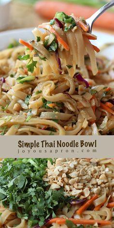 Best Dinner Recipes, Lunch Recipes, Crockpot Recipes, Great Recipes, Vegetarian Recipes, Favorite Recipes, Healthy Recipes, Thai Noodles, Rice Noodles