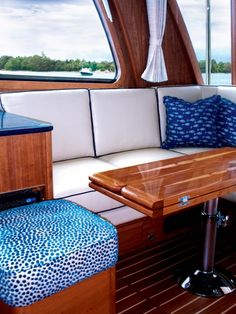 White and blue,classic Boat Interior