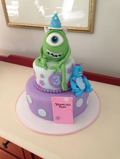 Monsters Inc. cake, edible decorations, by Amy Hart