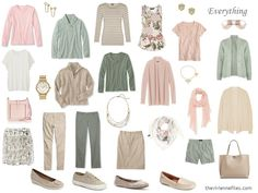 Accessories, 1 at a Time: Beige, Sage and Blush; pattern to add accessories , bag,scarf,jewelry in each accent color; shoes for every occasion casual to dress.