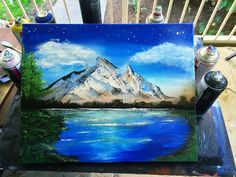 Spray Paint Art - Mountain Landscape Art, Tundra, Winter, Snowy Mountain Artwork with Spray Paint and Palette Knife painting by ArekArt on Etsy