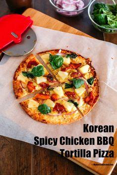 Korean Spicy Chicken BBQ Tortilla Pizza | MyKoreanKitchen.com