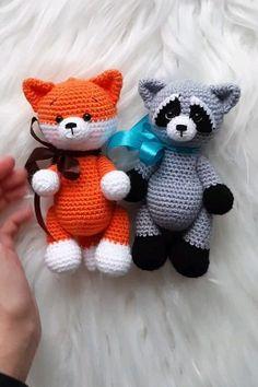 Crochet pattern amigurumi fox and raccoon: crochet pattern b.- Crochet pattern amigurumi fox and raccoon: crochet pattern bundle - Crochet Doll Pattern, Crochet Patterns Amigurumi, Amigurumi Doll, Crochet Dolls, Knitting Patterns, Fox Pattern, Crochet Animals, Crochet Fox, Crochet Patterns For Beginners