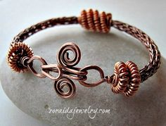 Coiled Viking Knit Copper Bracelet