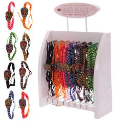 96 Pc Day of the Dead Skull Woven Bracelets with Display - 11084 | Puckator