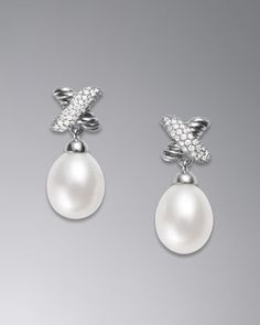 Forget diamonds...these are my best friends :-) X Collection Earrings, Pearl by David Yurman at Neiman Marcus.