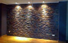 pared piedra con chimenea comedor - Buscar con Google