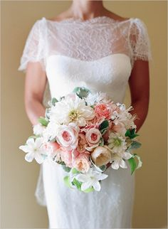 romantic bridal bouquet with pink white and green
