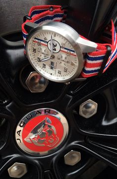 """KSK: """"Luxury as a Way of Life"""" //☽ ☼☾//Maurice de Mauriac, Chronograph Modern Le Mans series watch with Nato strap on a Jaguar wheel. Swiss luxury watches for men and women."""