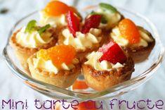 mini tarte cu fructe Mini Muffins, Baked Potato, Panna Cotta, French Toast, Cheesecake, Pudding, Baking, Breakfast, Ethnic Recipes