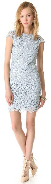 Alice + Olivia Lace Cap Sleeve Dress in Blue   Lyst