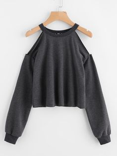 To find out about the Open Shoulder Raw Hem Heathered Pullover at SHEIN, part of our latest Sweatshirts ready to shop online today! Teen Fashion Outfits, Casual Outfits, Girl Outfits, Fashion Dresses, Fasion, Cut Up Shirts, Tie Dye Shirts, One Direction Shirts, Fashion Clothes