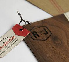Flourish Letterpress and Wood Wedding Invitations | CUSTOM PROJECTS * Print wood on the back of invite*